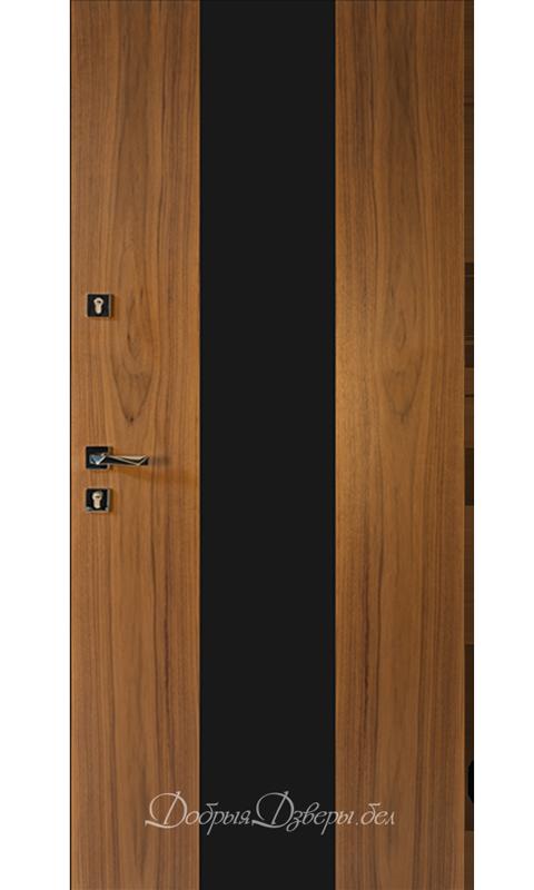 Дверь металлическая. Отделка шпон, орех, стекло