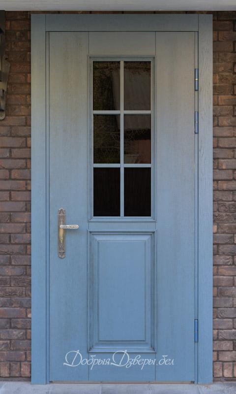 Дверь металлическая со стеклопакетом. Отделка дуб
